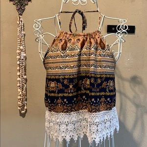 Super cute halter top with lace